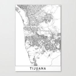Tijuana White Map Canvas Print