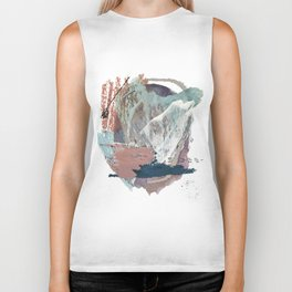 In the Clouds: a minimal mixed media piece in blues, pinks, white, and purple Biker Tank