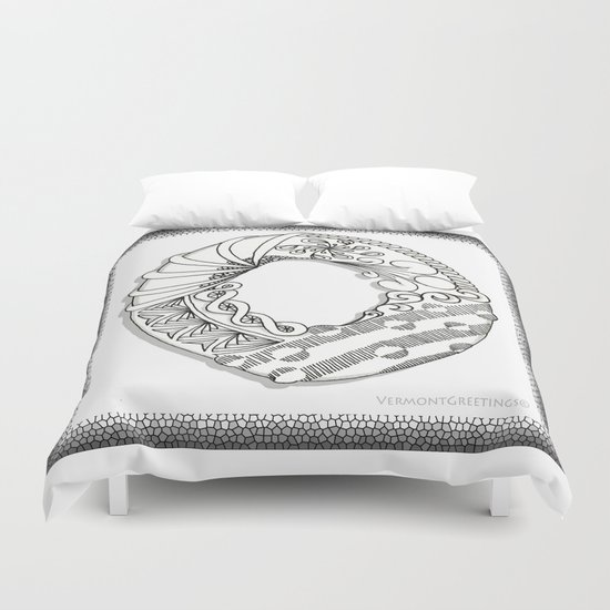 Zentangle O Monogram Alphabet Illustration Duvet Cover