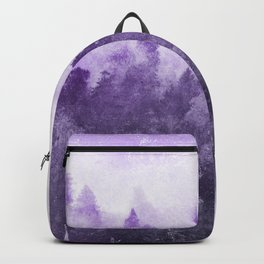 Ultra Violet Forest - And So The Adventure Begins Nature Photography Typography Backpack