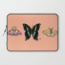 Butterflies Trio Magical Dots on Peach_modern digital painting Laptop Sleeve