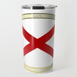 Alabama State Flag Oval Button Travel Mug