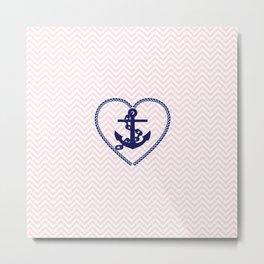 Blush pink chevron navy blue vintage nautical anchor Metal Print