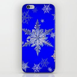 """MORE BLUE SNOW"" BLUE WINTER ART DESIGN iPhone Skin"