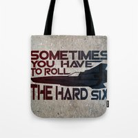 battlestar Tote Bags featuring Hard Six by Stuckey