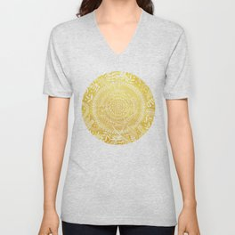 Medallion Pattern in Mustard and Cream Unisex V-Neck