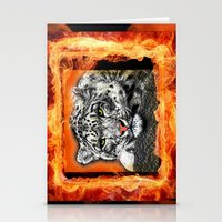 snow leopard Stationery Cards featuring Snow Leopard by SwanniePhotoArt