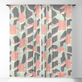 Cubes gone wild Sheer Curtain