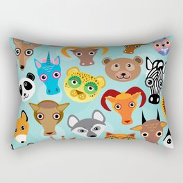 Seamless pattern cute face funny animals on blue background. Vector Rectangular Pillow