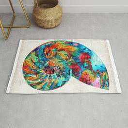 Colorful Nautilus Shell by Sharon Cummings Rug