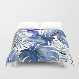 Tropical plants in indigo blue Duvet Cover