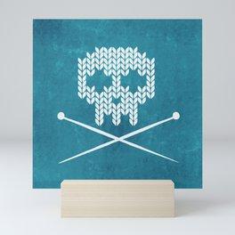 Knitted Skull (White on Blue) Mini Art Print