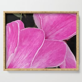 Fine Art Pink Cyclamen Floral Chic Close-Up Serving Tray