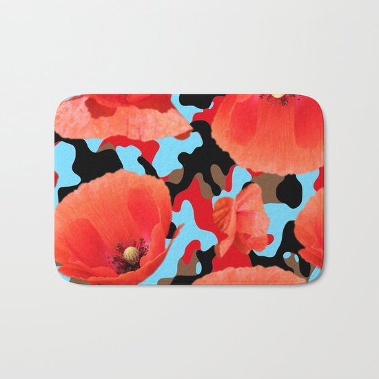 Poppie Camouflage Red Blue -Living Hell Bath Mat