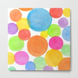 Rainbow coloured watercolour confetti Metal Print