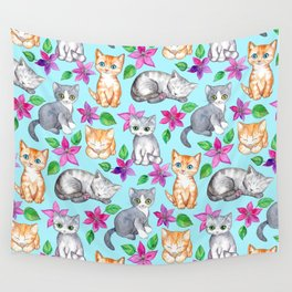 Kittens and Clematis - blue Wall Tapestry