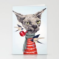 jazzberry Stationery Cards featuring Sphynx cat by dogooder