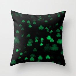 Green Bokeh Shamrocks Throw Pillow