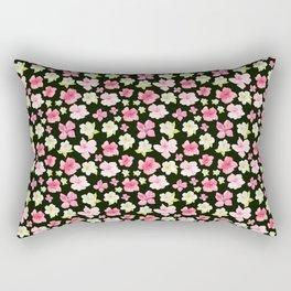 Blooms On Black Rectangular Pillow