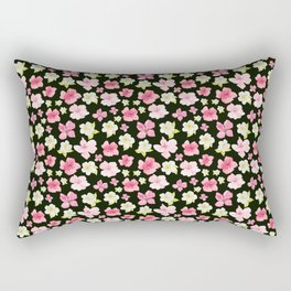 Blooms On Black Rectangular Pillow