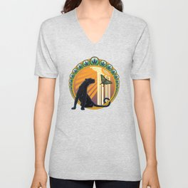 Jaguar Flowers Art Deco Unisex V-Neck