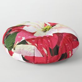 Red and White Poinsettia Floor Pillow