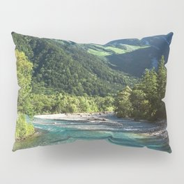 River flowing in front of snow covered mountain Pillow Sham