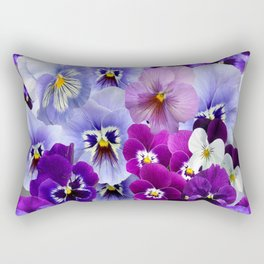 VARIEGATED PURPLE PANSY FLOWERS ART Rectangular Pillow