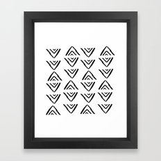 mudcloth 16 minimal textured black and white pattern home decor minimalist beach Framed Art Print