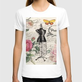 french country rose floral modern vintage dress mannequin paris fashion T-shirt