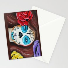 Dia De Los Muertos, Sugar skull girl Stationery Cards