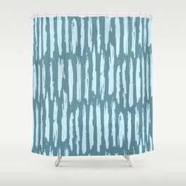 Vertical Dash Turquoise on Teal Blue Shower Curtain