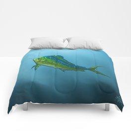 """El Dorado"" by Amber Marine ~ Mahi Mahi / Dolphin Fish Art, (Copyright 2015) Comforters"