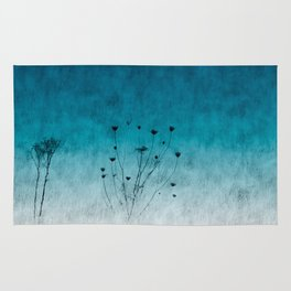 Blue Floral ~ silhouettes Rug