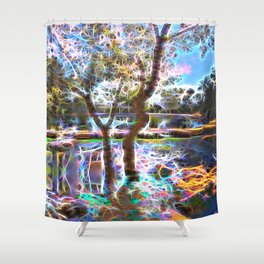 Trees Pond and Light Streams Shower Curtain