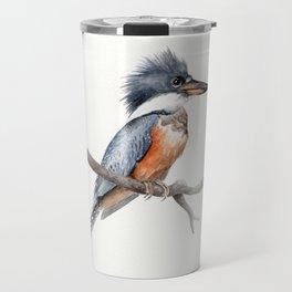 Kingfisher Bird Watercolor Illustration Travel Mug