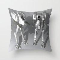 robots Throw Pillows featuring Robots by Carlo Toffolo