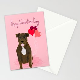Pitbull love heart balloons valentines day gifts for pibble lovers Stationery Cards