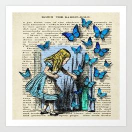 The Key To Wonderland - Alice in Wonderland on A Vintage Textbook Art Print