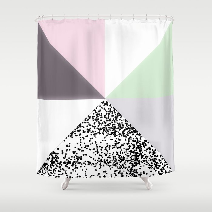 Geometrical Black Confetti Pastel Color Block Shower Curtain By Pink Water