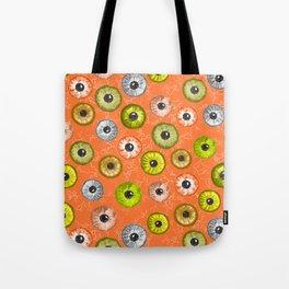 Ditsy Eyes (orange, yellow, grey, green) Tote Bag