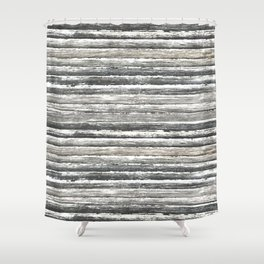 Grunge Stripes Design Print Shower Curtain
