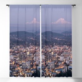Portland Evening Urban Cityscape With Mt Hood Blackout Curtain