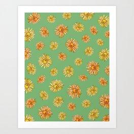 DAISIES - green Art Print