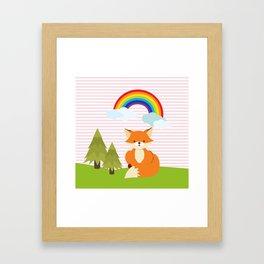 Fox, Rainbow , Pink , nursery decor , Framed Art Print
