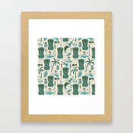 Tropical Tiki - Cream & Aqua Framed Art Print