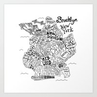 brooklyn Art Prints featuring Brooklyn Map by Claire Lordon