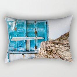 Distressed Blue Wooden Shutters and Beach Umbrella in Crete. Rectangular Pillow