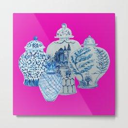 Hot Pink Blue and White Ginger Jars  Metal Print