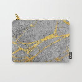 Grey marble and gold Carry-All Pouch